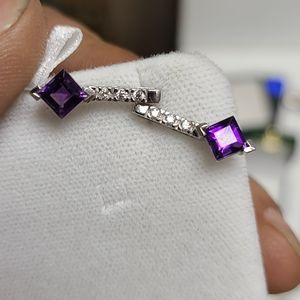 14kt white gold EARRINGS WITH AMETHYSTS